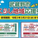 武蔵野市くらし地域応援券のお取扱い終了しました